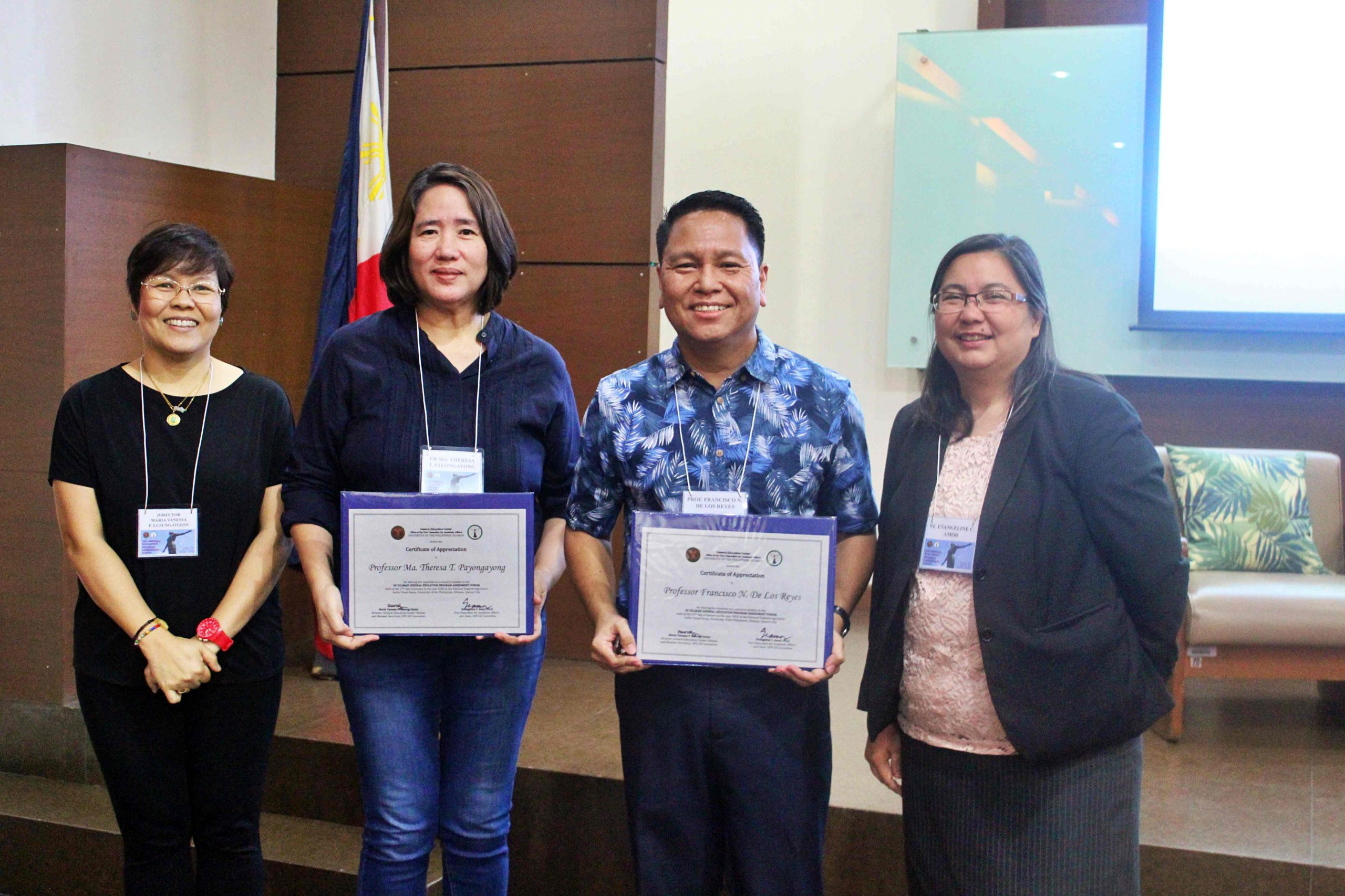Prof. Payongayong and Prof. De Los Reyes receive their Certificate of Appreciation